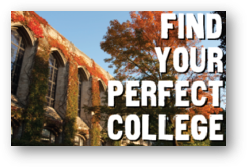 A picture of a college building with text: find your perfect college