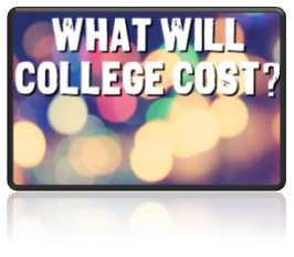 lights with text: what will college cost?